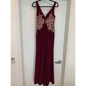 Xscape Plum Floral-Embroidered Gown